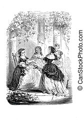 The narration - Girls game: telling a storyEngraving from...