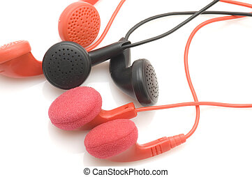Colored ear phones - object on white - tool Colored ear...