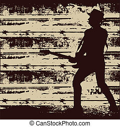 Jail Guitar Poster - Guitar player over a barbed wire grunge...