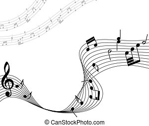 Musical note staff Vector illustration without transparency...