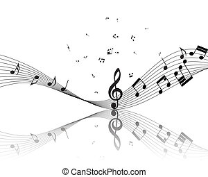 Musical note staff. Vector illustration without transparency...