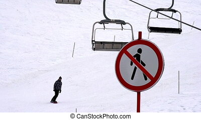 Ski Holidays - Forbidden zone for pedestrians on the ski...