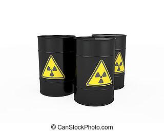 barrels with radioactive symbol - Three black barrels with...