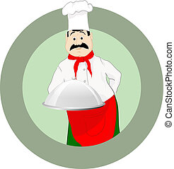 The cook in a cap with a tray
