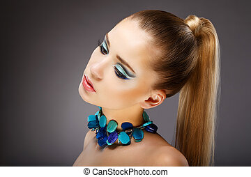 Allure Profile of Sensual Woman with glazed Green - Blue...