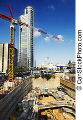 Downtown Construction Site - The initial stage of...