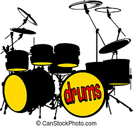 drum set - Silhouette music drum set vector illustration;