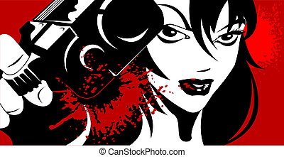 beauty killer - woman dressed in black with a gun in his...