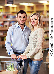 Couple with cart