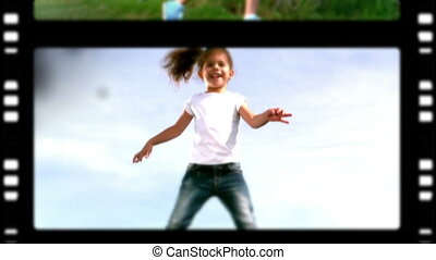 Film roll of a mother and children playing in the park on...