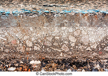 Road slice cut away - Sliced cross section of a street with...