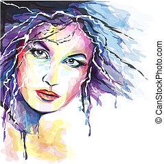 jovem, mulher, Retrato