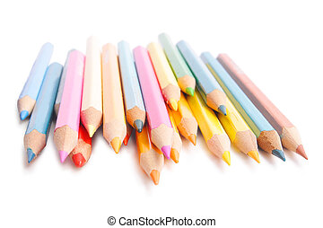 pencil - multicolored wooden pencil on white background...