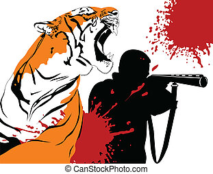 hunter and tiger - Wounded tiger against a hunter with a gun...