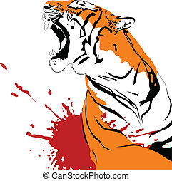 wounded tiger - ferocious tiger with open mouth vector...