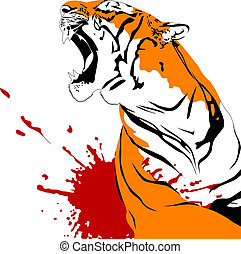 wounded tiger - ferocious tiger with open mouth (vector...