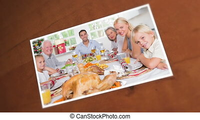 Pictures of an happy family during
