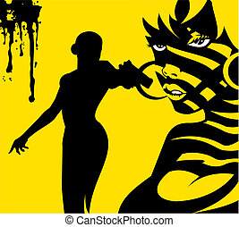 yellow killer - woman dressed in black with a gun in his...