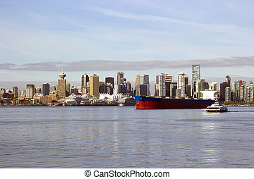 Vancouver Canada cityscape with ships