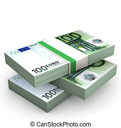Euro Notes - One hundred euro banknotes on the white...