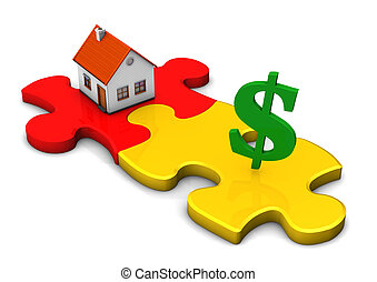 House Puzzle Dollar - A house with two puzzle pieces and...