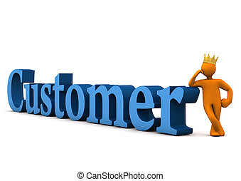 Customer With Crown - Orange cartoon character with golden...