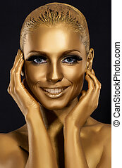 Coloring and Glance Gorgeous Woman smiling Fantastic Golden...