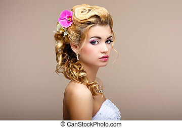 Charm Portrait of Elegant Blond hair Woman Fiancee with...