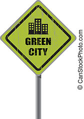 Green city road sign.