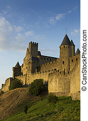 Carcassonne in golden sunlight - The beautiful fortified...