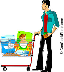 customer in a supermarket - young man carries a shopping...