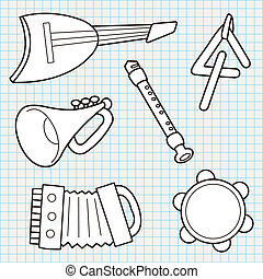 Vector Doodle Musical Instruments Collection - vector doodle...