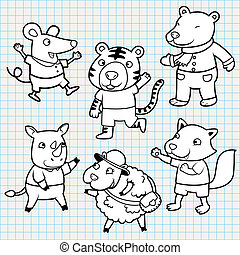 Vector Doodle Cute Animal Collection
