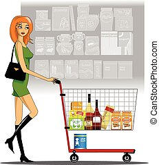 woman in a supermarket - young woman carries a shopping cart...