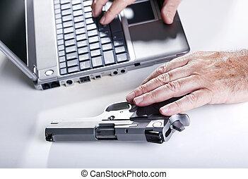 computadora, criminal, acción