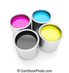 Printing technologies CMYK colors, and four cans of paint on...