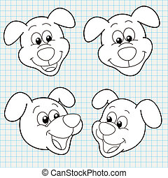 Vector Doodle Cute Dog Face Collection - vector doodle cute...