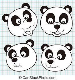 Vector Doodle Cute Panda Face Collection