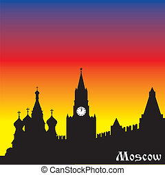 moscow silhouette - vector silhouette image of Russian city...