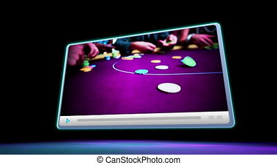 Montage of screens showing fun at the casino on black and...