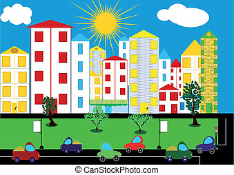 Color city background Vector