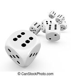 Dice - Seven dice on white background