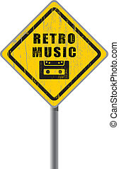 Retro music old scratched road sign. - Retro music old...