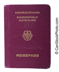Isolated Worn Out German Passport - A worn out used German...