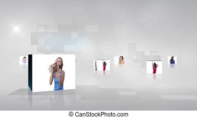 Video with screens showing women d - Animation of different...