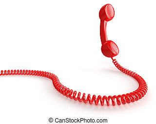 Red Phone - A red telephone receiver on white background....