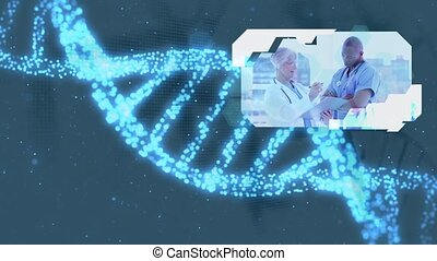 Montage of doctors and nurse at work on shimmering blue DNA...