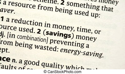 Savings highlighted in the dictionary
