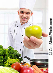 chef with fresh apple