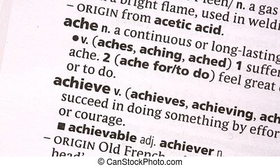 Achieve highlighted in green in the dictionary